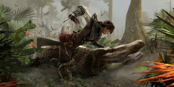 Aveline luchando contra un caimán