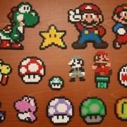 Personajes del Super Mario hechos de hama beads